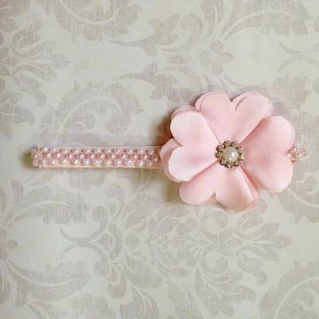 Headband flor rosa claro