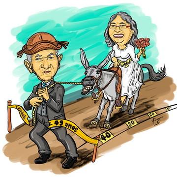 Caricatura para Casamento com Cenário