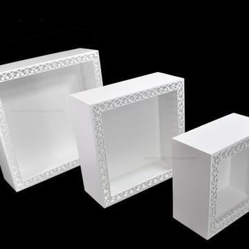 Trio De Nicho Quadrado Branco Arabesco