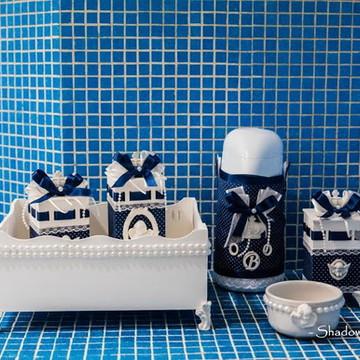 Kit Higiene azul marinho anjos