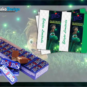 Rótulo para chocolate O Bom Dinossauro
