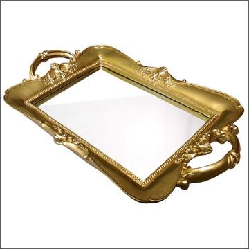 Bandeja De Resina Com Espelho Dourada