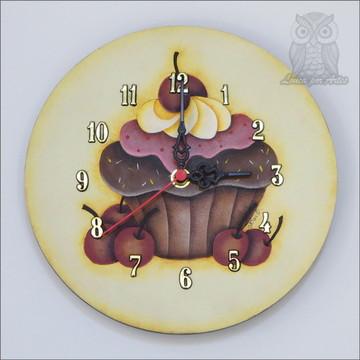 Relógio Cupcake Madeira Mdf