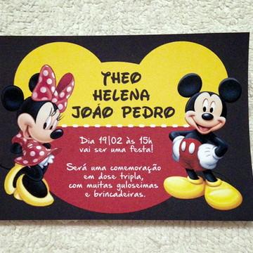 Convite - Tema Mickey e Minnie