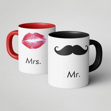 Caneca Dupla Mr. e Mrs.