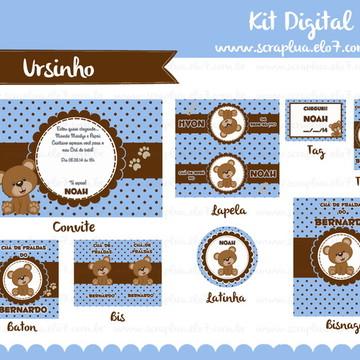 Kit Digital - Urso Marrom e Azul