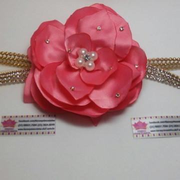 Headband Infantil Flor de Cetim