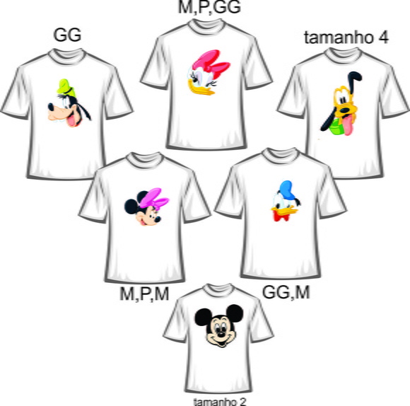 Kit Camisetas Personalizadas da Turma do Mickey -6 unidades