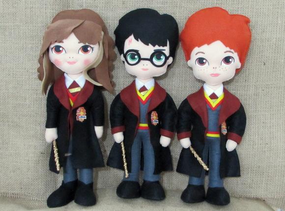 Aparador Sala De Jantar Rustico ~ Bonecos Harry Potter 3 personagens no Elo7 Artes da Lel u00ea (670058)