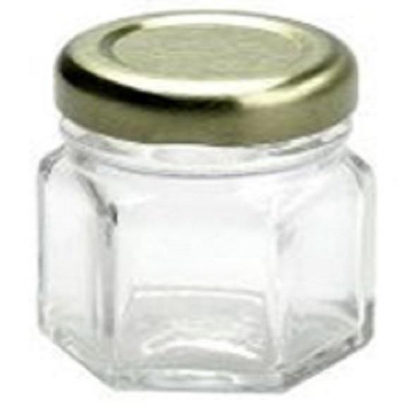 pote em vidro sextavado