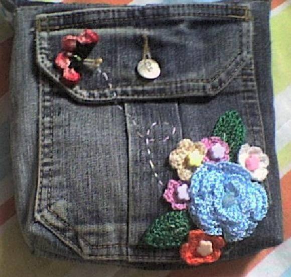 771306f7e BOLSA JEANS no Elo7 | Rose Art Fibra - Crochê e Bordado (90C46)