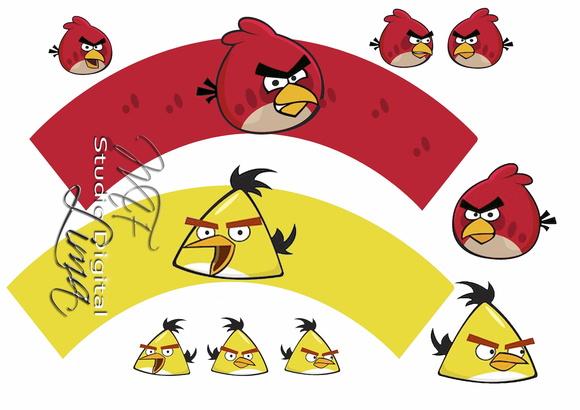 Toppers Personagens Angry Birds: Wrapper Para Cupcake Angry Birds Digital No Elo7