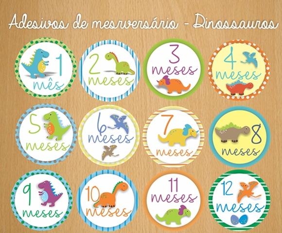 Adesivo DIGITAL de mesversário Dinos no Elo7 Inventovivo (690183)