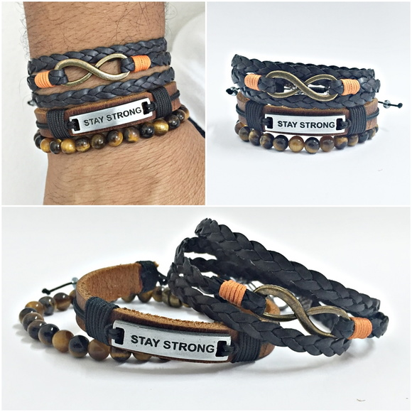 Kit 3 pulseiras masculinas stay strong