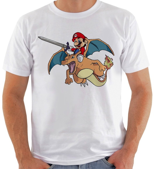 Camiseta Pokemon e Super Mario Crossover