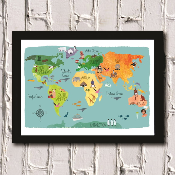 Poster com moldura Map for Kids