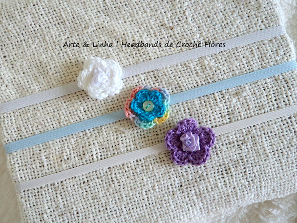 3 Headbands de Crochê Flores