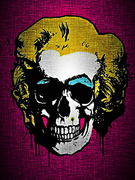 QUADRO DECORATIVO BORN 2 B SKULL MARILYN