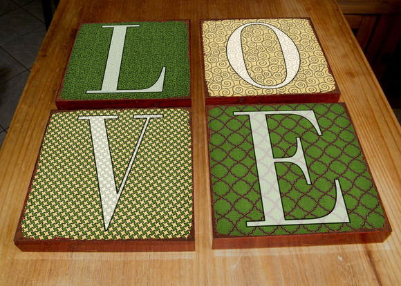 Kit 4 Quadros Tela LOVE Green