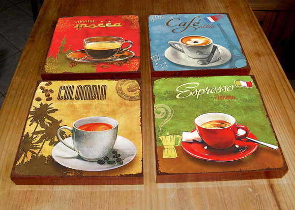 Kit 4 Quadros Tela MDF Café Colours