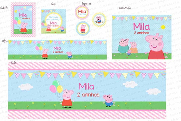 Kit Digital Peppa Pig - Colorido