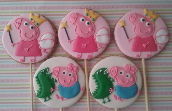 Biscoito decorado Peppa e George Pig