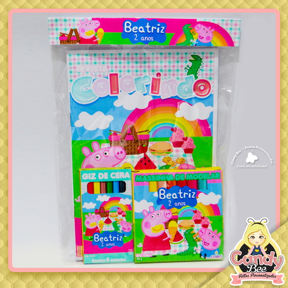 Kit Colorir + massinha Picnic Peppa Pig