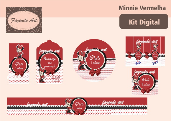 Kit digital p/ personalização Minnie Ver