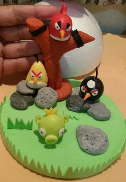 Topo de bolo Angry birds biscuit