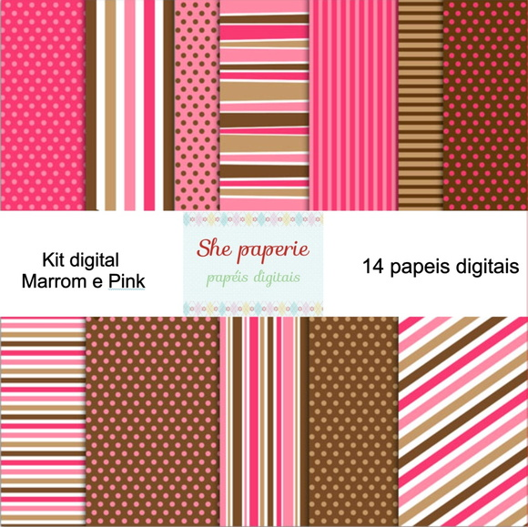 Kit Digital Charme Marrom e Pink