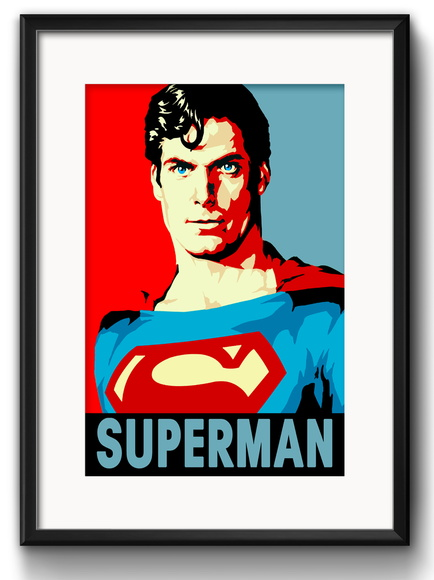 Quadro Superman Pop Art com Paspatur