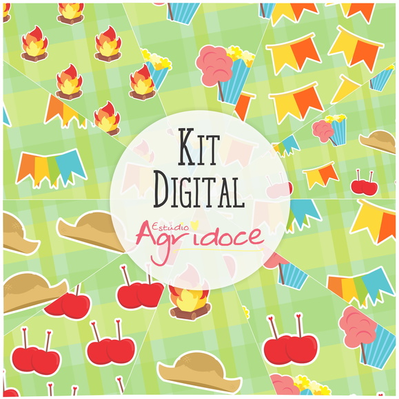 Kit Digital Papéis Festa Junina.