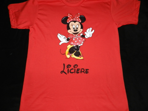 camiseta pintada MINNIE c/ nome (ADULTO)