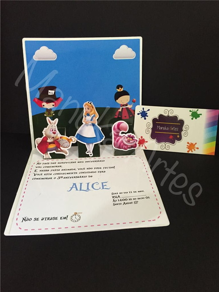 Convite 3D/ POP UP Alice