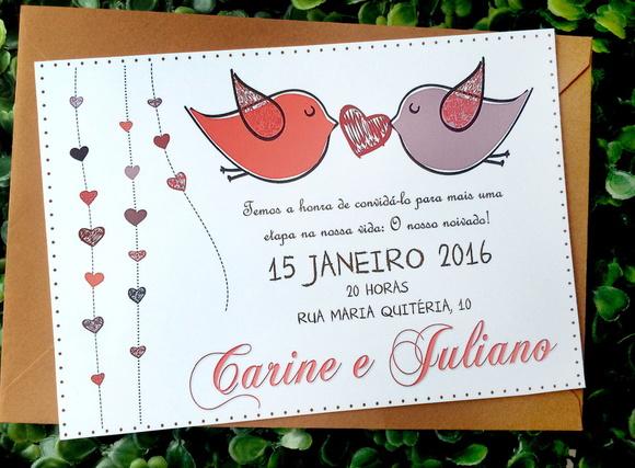 Frases Para Convite De Noivado Evangelico: Convite Noivado - Love Birds No Elo7