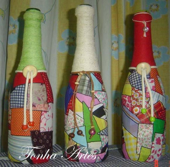 Reciclagem em garrafas Maria Antonia Rodrigues de Oliveira Elo7 # Decoração Em Garrafas Com Barbante