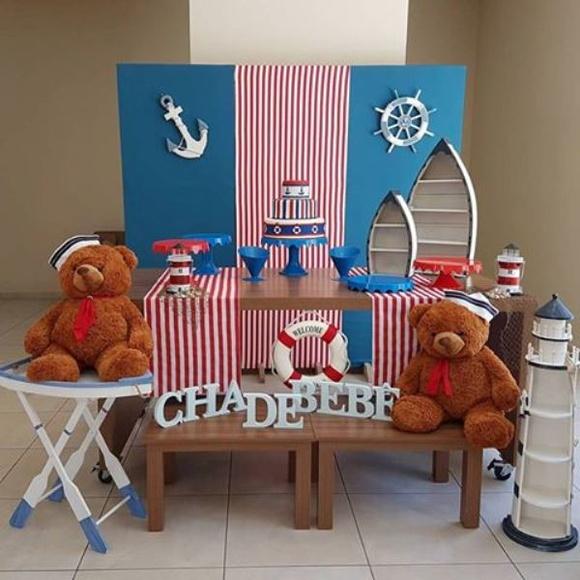 Decoraç u00e3o Chá de Beb u00ea Urso Marinheiro no Elo7 Convites e Festas (6F4E07) -> Decoração Cha De Bebe Tema Urso