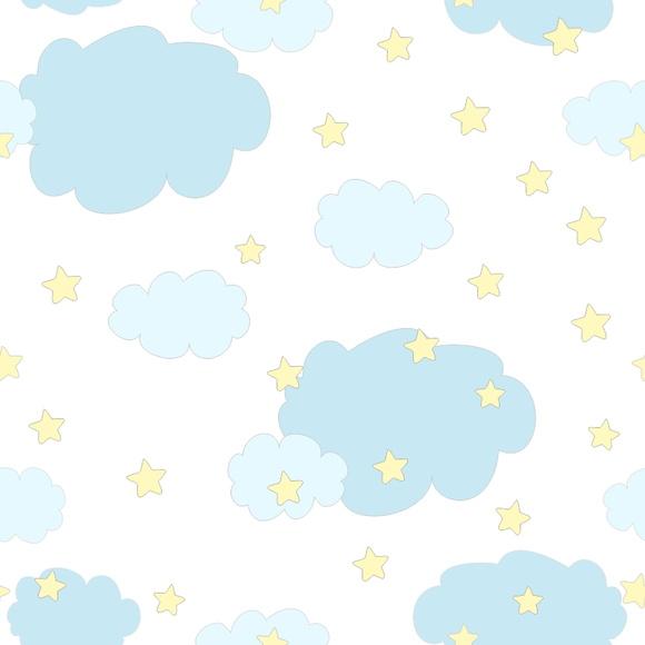 Papel de Parede Nuvens e Estrelas  Quarto do meu bebê  Elo7