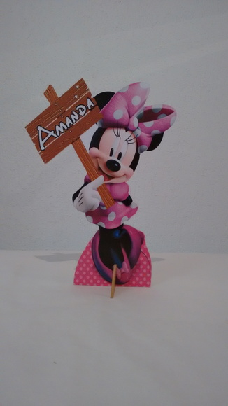 Display de mesa mdf Minnie rosa com nome