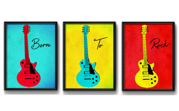 3 Quadros Guitarra Born to Rock Pop Art Moldura e Vidro