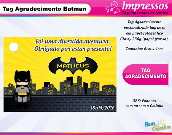 Tag de Agradecimento Batman Cute