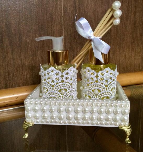 Buffet Aparador Adega ~ Bandeja pérolas kit lavabo Atelie Aromas e Encantos Elo7