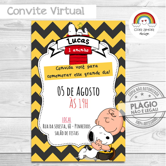 Convite Digital Snoopy No Elo7