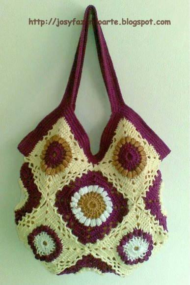 Bolsa de Crochê Multicolorida - Disp. no Elo7   Josy Queiroz (A2BAE) f801583013