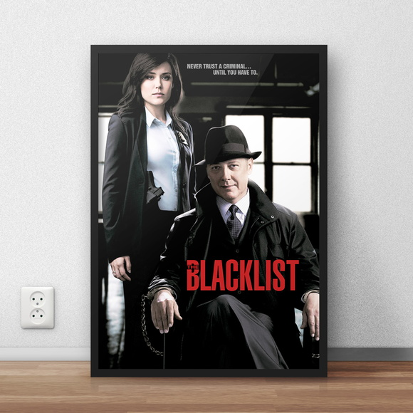 "Quadro decorativo ""The Blacklist"" com moldura e vidro"