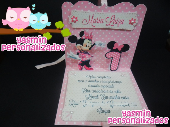 Convite Pop Up (3D) Minnie Rosa
