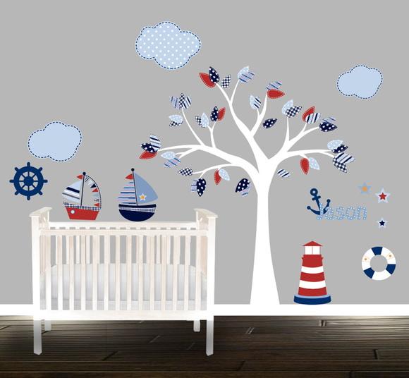 Artesanato Kit Higienico Para Banheiro ~ Adesivo infantil marinheiro Quarto de Criança