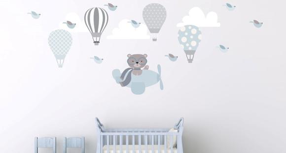 Artesanato De Jornal ~ Adesivo balões + ursinho + nuvens Quarto de Criança Lojadecoreacasa Elo7