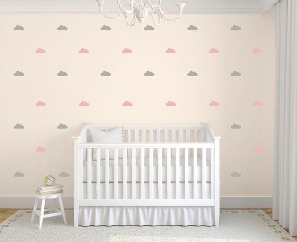 Aparador Barba E Corpo ~ Adesivo nuvens cinza rosa no Elo7 Quarto de Criança Lojadecoreacasa (7CD787)