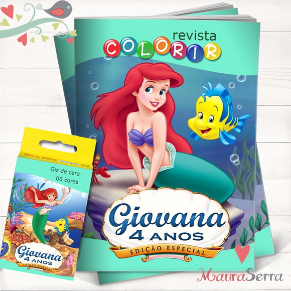 Kit Revista + Giz Pequena Sereia - Ariel